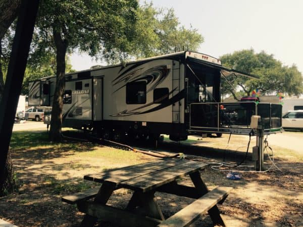 RV with slide out porch
