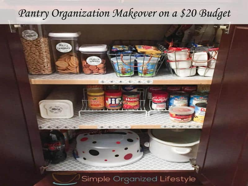 pantry organization makeover on a $20 budget