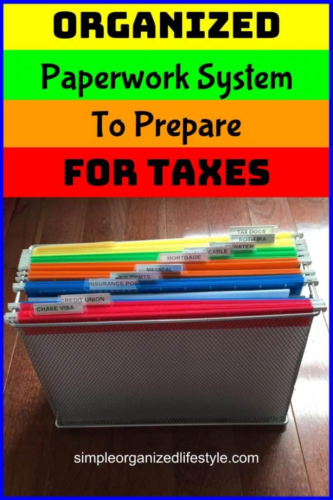 paperwork system to prepare for taxes