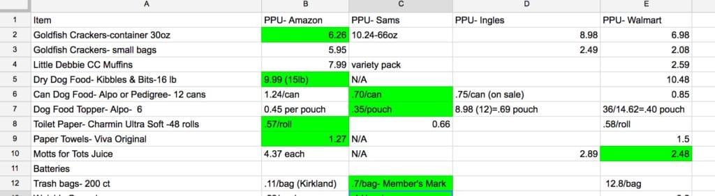 stockpile spreadsheet