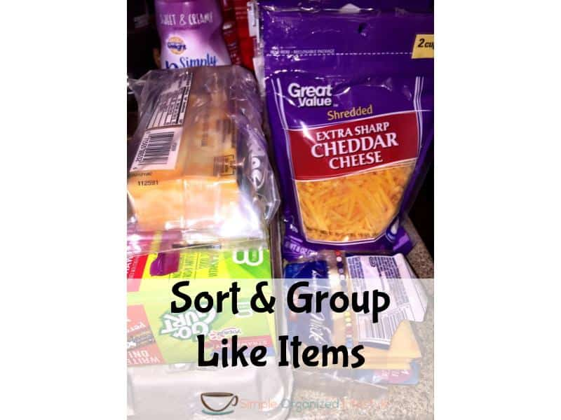 organize any space step 4- sort and group like items