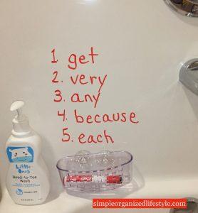 Homework words written on bathtub