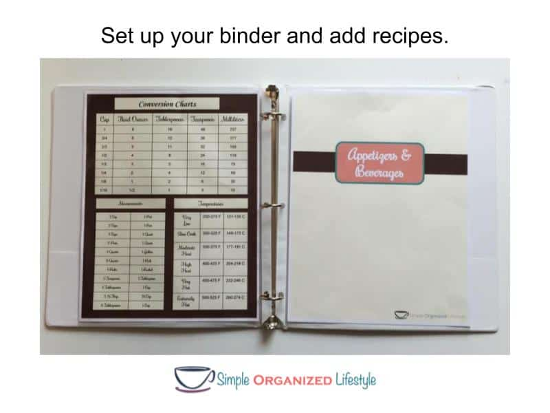 How to Organize Recipes in a Binder- Set up