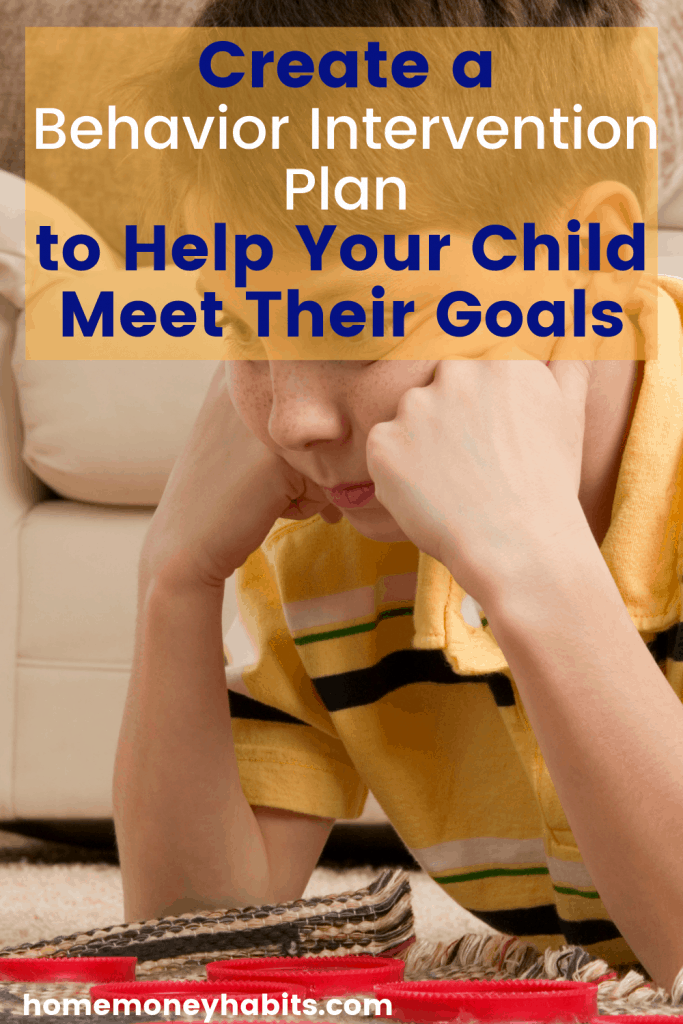 Child looking frustrated with text overlay Behavior Plan to Help Your Child Meet Their Goals