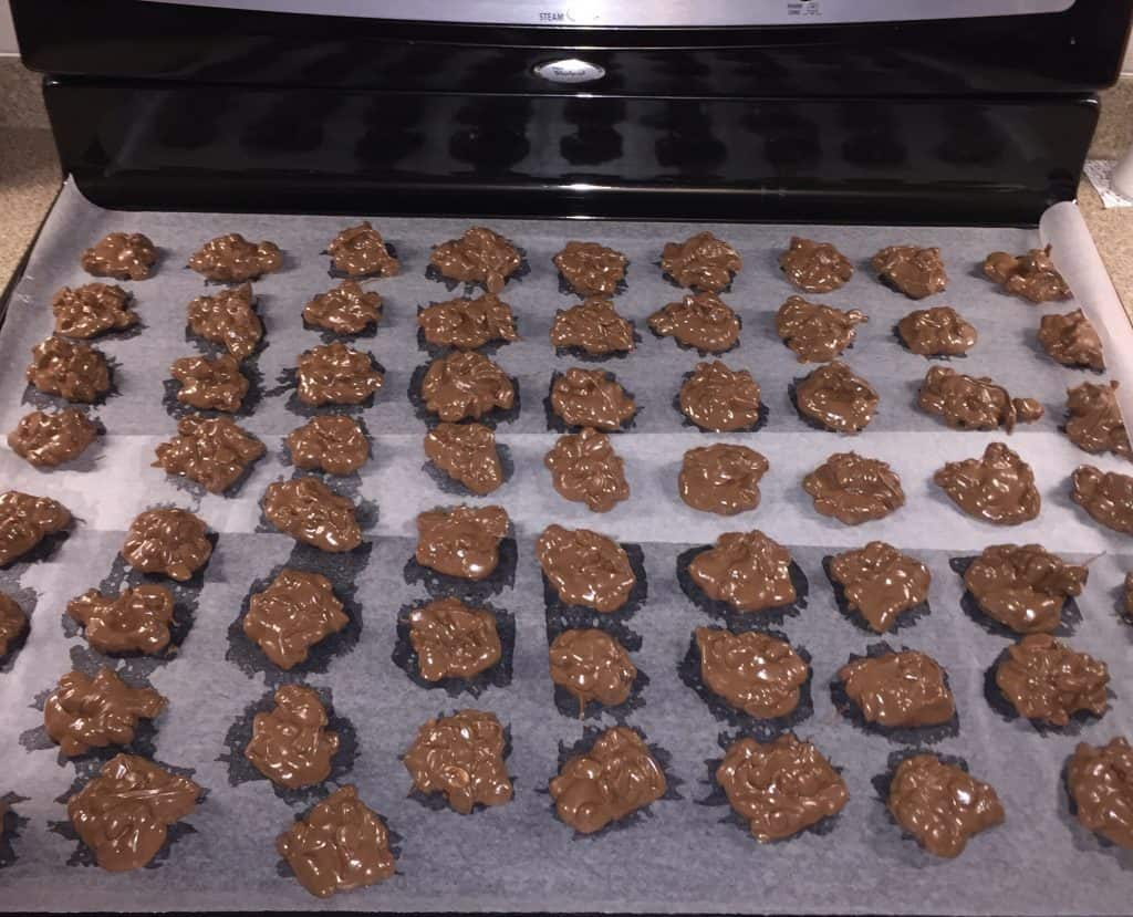 Spoonfuls of peanut clusters with almond bark
