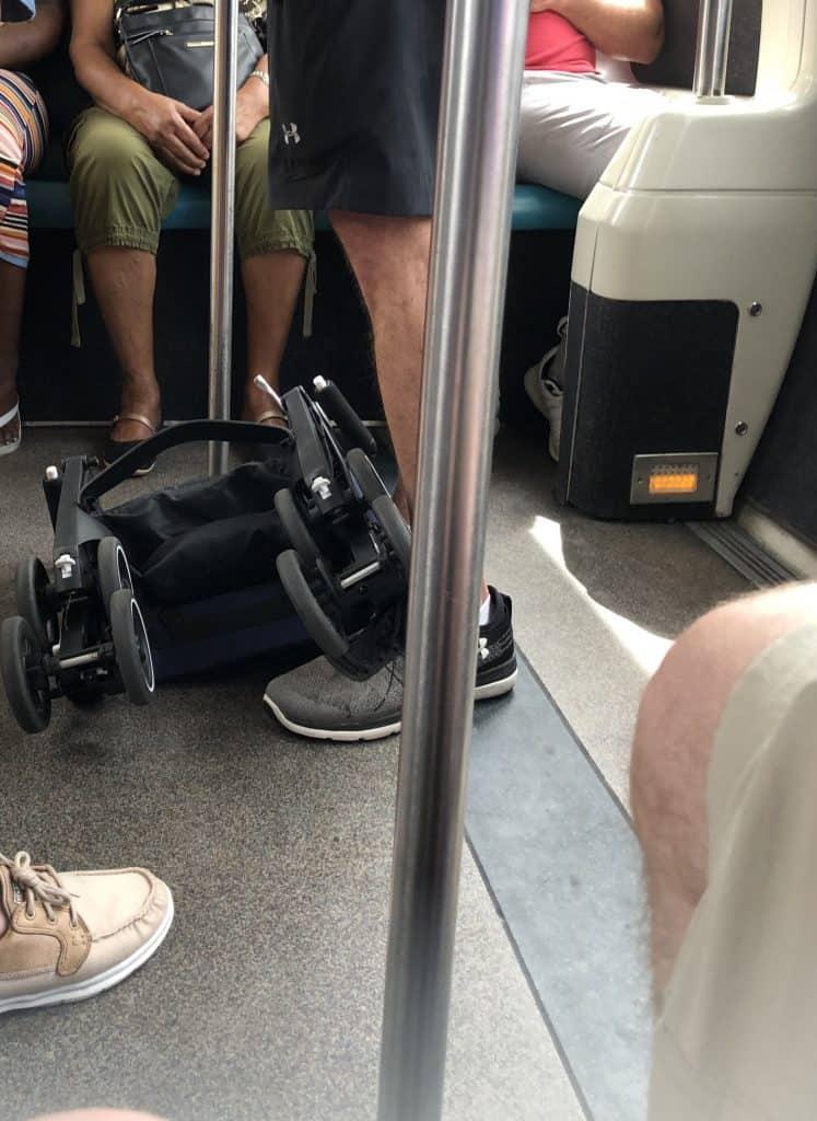 Folded pockit stroller
