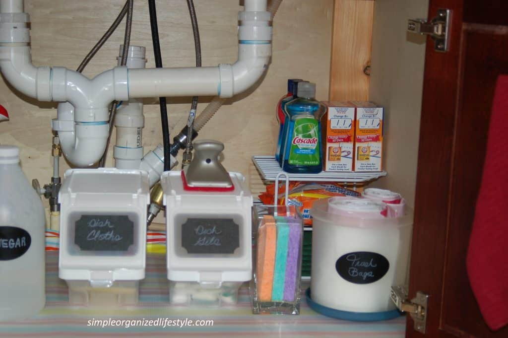 Items stored under the kitchen sink