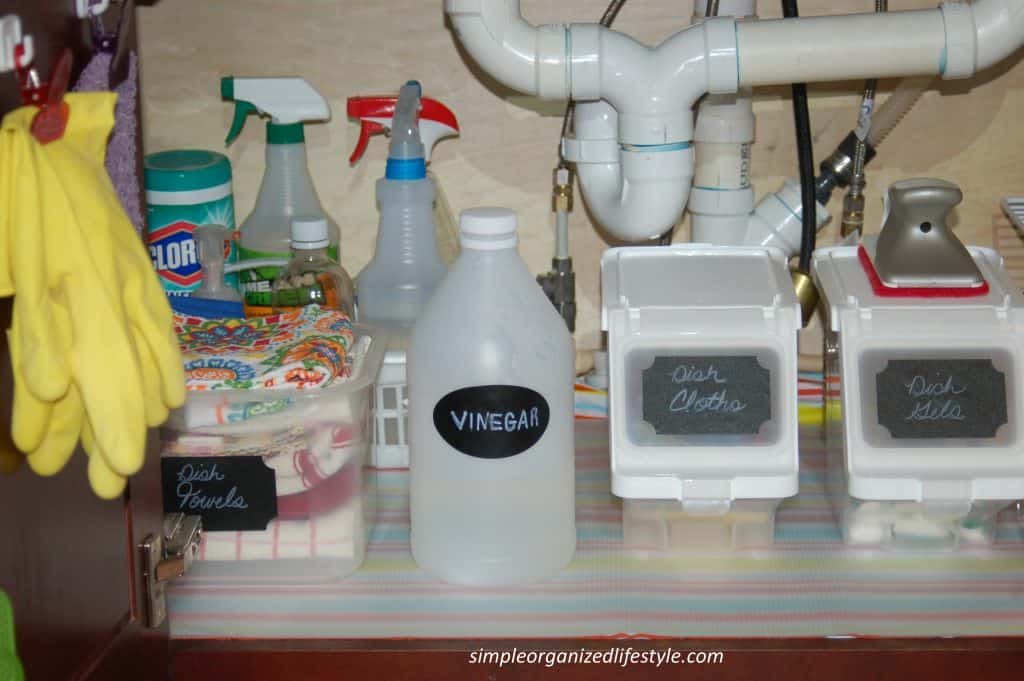 Items organized under the sink