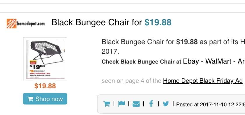 Home Depot black bungee chairs
