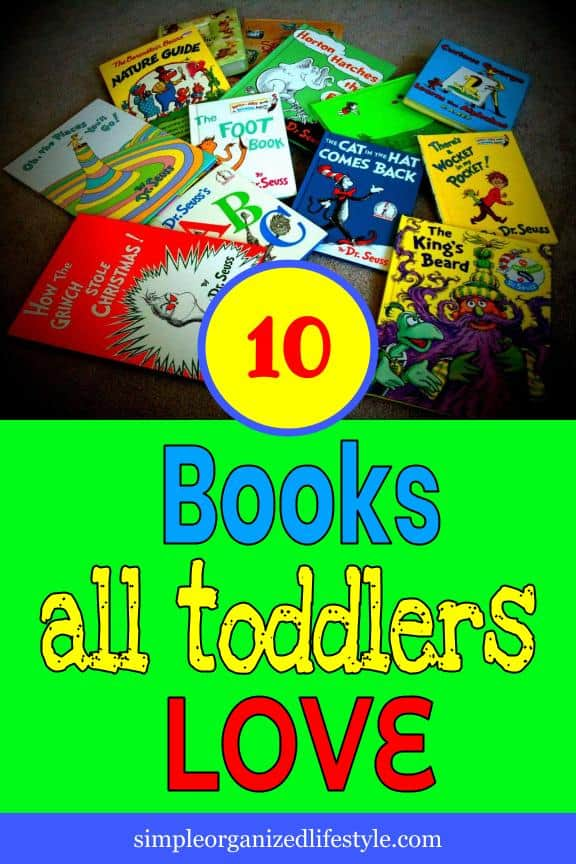 Children's books with text overlay that reads 10 books all toddlers love