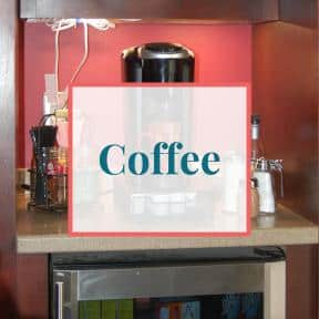 Coffee bar with Keurig and coffee accessories