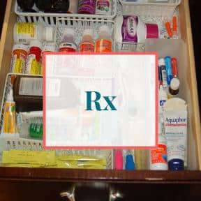 Items organized in medicine drawer