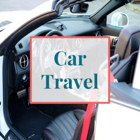 "Inside of car with text overlay that reads ""Car Travel"""