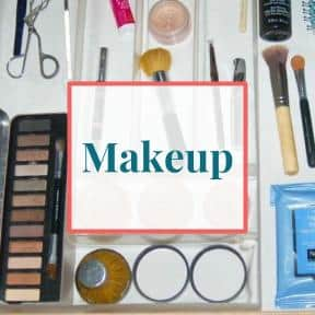 Makeup products organized in drawer