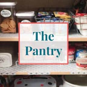 """Organized pantry with text overlay that reads """"The Pantry"""""""