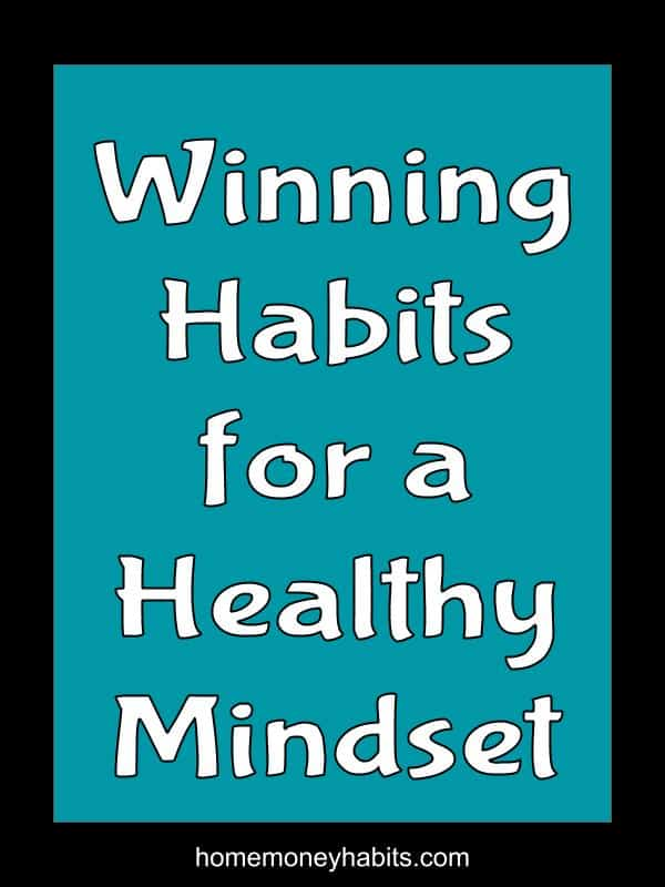 Text overlay on blue background of Winning Habits for a Healthy Mindset
