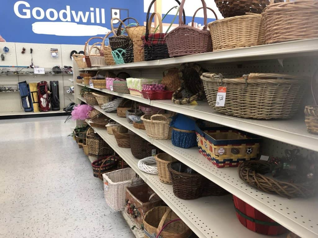 Row of baskets in thrift store