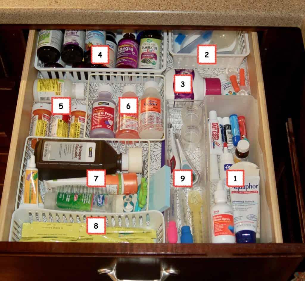 Organized Kids' Medicine Drawer