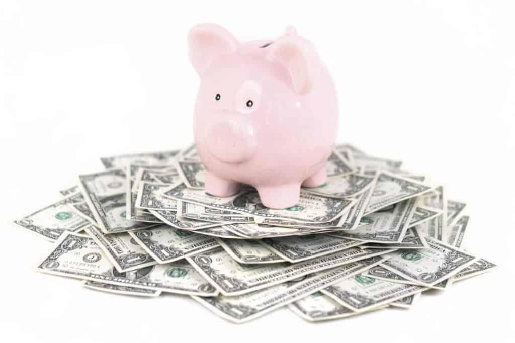 An overflowing piggy bank