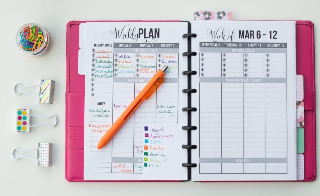Color Coded Planner Page Design
